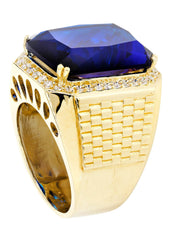 Sapphire & Cz 10K Yellow Gold Mens Ring. | 23.1 Grams