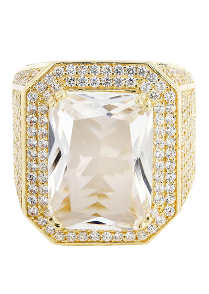 Rock Crystal & Cz 10K Yellow Gold Mens Ring. | 28 Grams