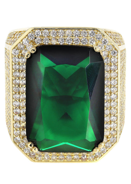 Emerald & Cz 10K Yellow Gold Mens Ring. | 26.5 Grams