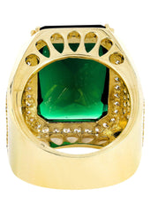 Emerald & Cz 10K Yellow Gold Mens Ring. | 21.1 Grams MEN'S RINGS FROST NYC
