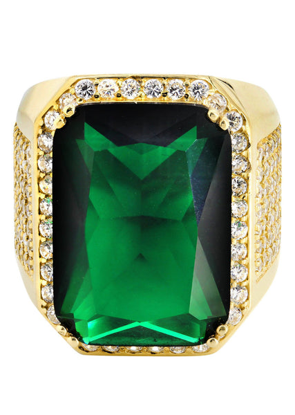 Emerald & Cz 10K Yellow Gold Mens Ring. | 21.1 Grams