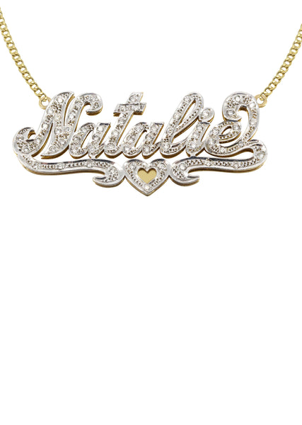 14K Ladies Two Tone with Diamonds Name Plate Necklace | Appx. 12.5 Grams