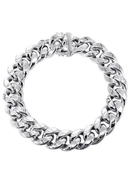 Hollow Mens Miami Cuban Link Bracelet 10K White Gold