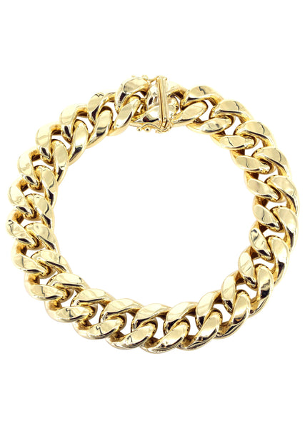 Hollow Mens Miami Cuban Link Bracelet 10K Yellow Gold