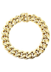 14K Gold Bracelet Hollow Miami Cuban Link Men's Gold Bracelets MANUFACTURER 2