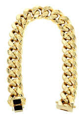 Hollow Mens Miami Cuban Link Bracelet 10K Yellow Gold Men's Gold Bracelets MANUFACTURER 1