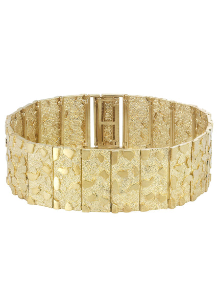 Mens Gold Nugget Bracelet 10K