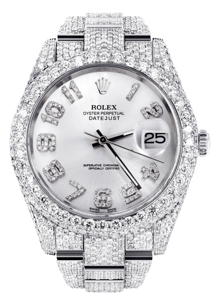 Diamond Iced Out Rolex Datejust 41 | 25 Carats Of Diamonds | Custom Silver Diamond Dial | Two Row | Oyster Band