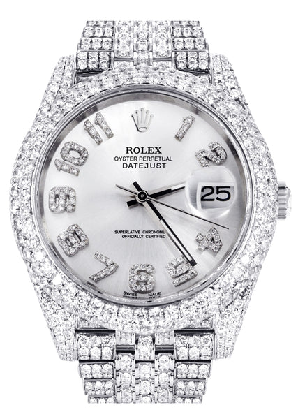 Diamond Iced Out Rolex Datejust 41 | 25 Carats Of Diamonds | Custom Silver Diamond Dial | Two Row | Jubilee Band