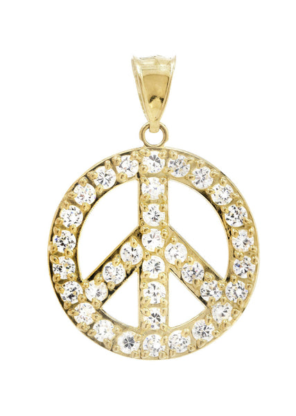 Medium Peace & Cz 10K Yellow Gold Pendant. | 3.9 Grams