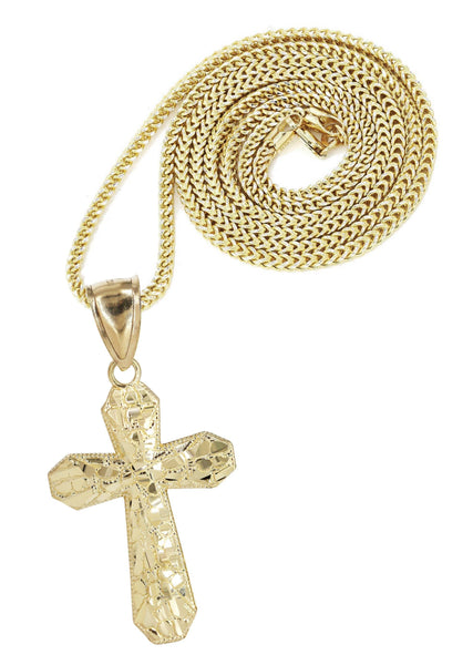 10K Yellow Gold Franco Chain & Nugget Cross Pendant | Appx. 12.7 Grams