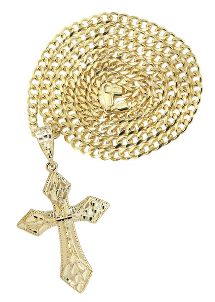 10K Yellow Gold Cuban Chain & Nugget Cross Pendant | Appx. 15.2 Grams