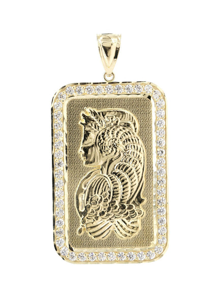 Big Dogtag & Cz 10K Yellow Gold Pendant. | 8.8 Grams