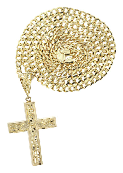 10K Yellow Gold Cuban Chain & Nugget Cross Pendant | Appx. 14.3 Grams