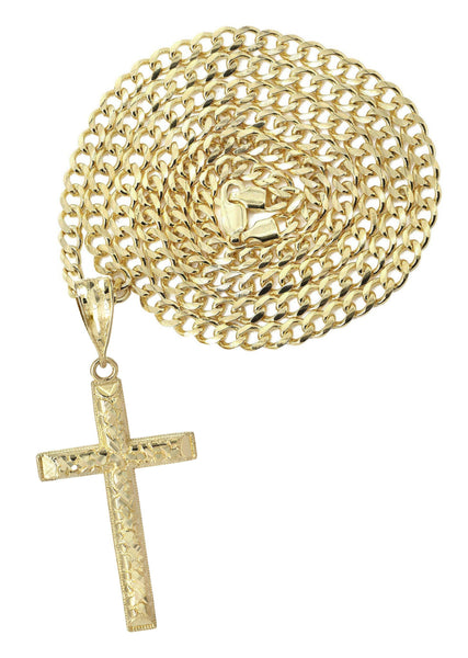 10K Yellow Gold Cuban Chain & Nugget Cross Pendant | Appx. 13.7 Grams