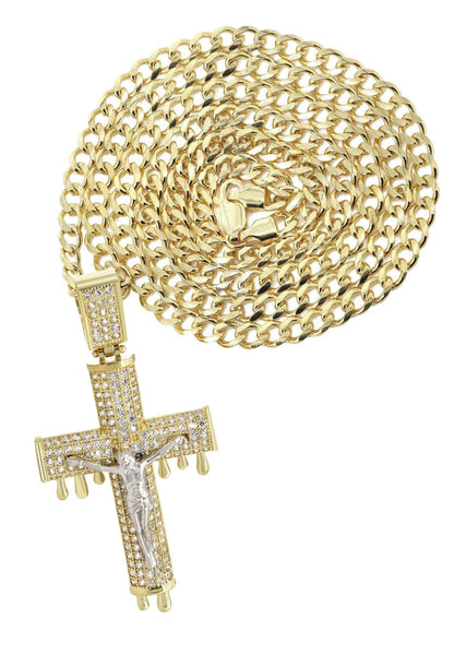 10K Yellow Gold Cuban Chain & Melting Crucifix Pendant | Appx. 15.6 Grams