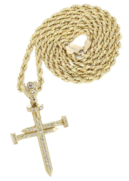 10K Yellow Gold Rope Chain & Cz Cross Pendant | Appx. 14.4 Grams