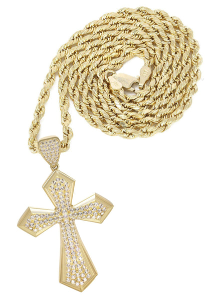 10K Yellow Gold Rope Chain & Cz Cross Pendant | Appx. 14.9 Grams