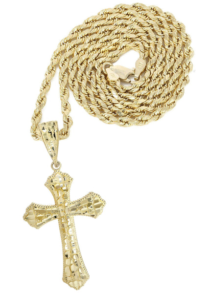 10K Yellow Gold Rope Chain & Nugget Cross Pendant | Appx. 13.7 Grams