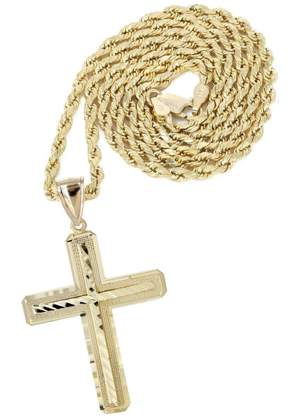 10K Yellow Gold Rope Chain & Diamond Cut Cross Pendant | Appx. 13.4 Grams