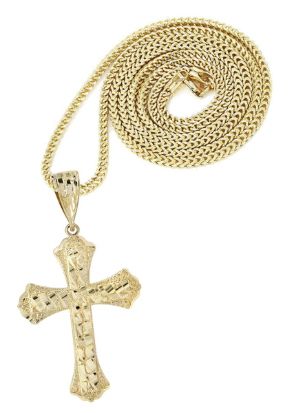 10K Yellow Gold Franco Chain & Nugget Cross Pendant | Appx. 14.3 Grams