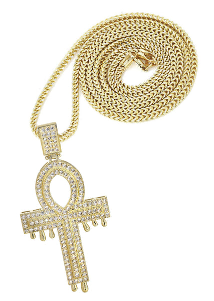 10K Yellow Gold Franco Chain & Cz Melting Ankh Pendant | Appx. 15.7 Grams