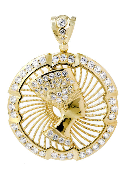 Big Pharoh & Cz 10K Yellow Gold Pendant. | 37.2 Grams