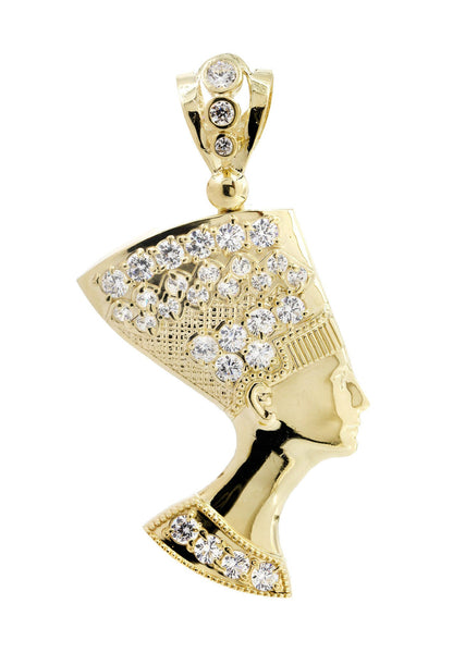 Big Pharoh & Cz 10K Yellow Gold Pendant. | 10.9 Grams