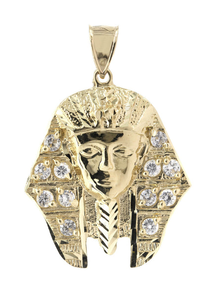 Big Pharoh & Cz 10K Yellow Gold Pendant. | 10.5 Grams