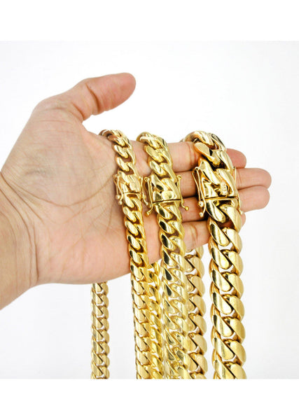 Heavy Gold Solid Miami Cuban Link Chain Customizable (10MM-20MM)