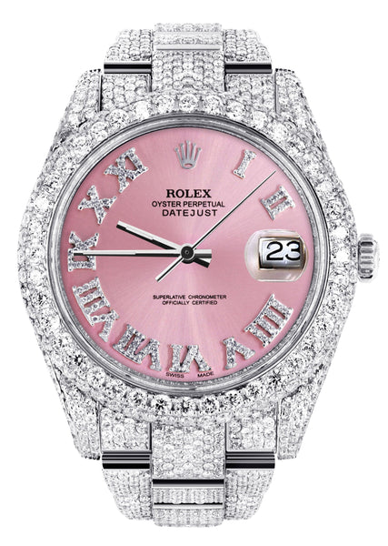 Diamond Iced Out Rolex Datejust 41 | 25 Carats Of Diamonds | Custom Pink Roman Numeral Diamond Dial | Two Row | Oyster Band