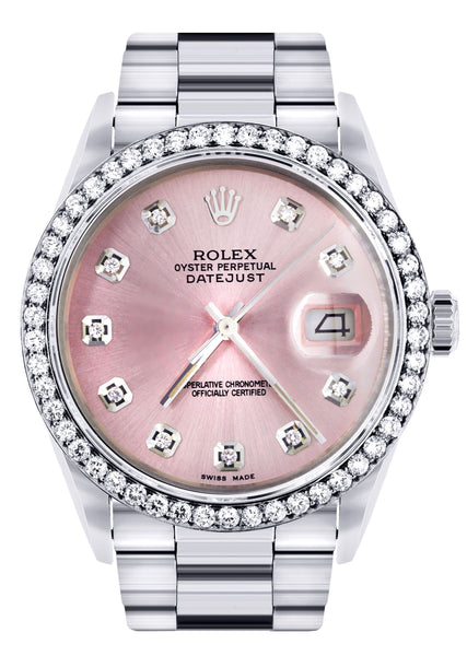 Mens Rolex Datejust Watch 16200  | 36Mm | Pink Dial | Oyster Band