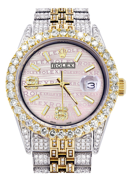 Iced Out Rolex Datejust 36 MM | Two Tone | 10 Carats of Diamonds | Pink Diamond Dial
