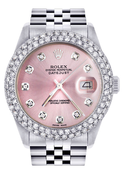 Mens Rolex Datejust Watch 16200 | 36Mm | Rose Dial | Two Row 4.25 Carat Bezel | Jubilee Band