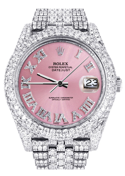 Diamond Iced Out Rolex Datejust 41 | 25 Carats Of Diamonds | Custom Pink Roman Numeral Diamond Dial | Two Row | Jubilee Band