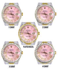 Gold & Steel Rolex Datejust Watch 16233 for Men | 36Mm | Pink Roman Dial | Jubilee Band