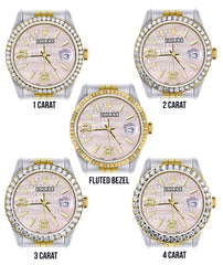 Gold & Steel Rolex Datejust Watch 16233 for Men | 36Mm | Custom Diamond Pink Dial | Jubilee Band