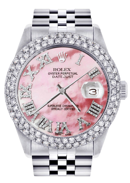 Mens Rolex Datejust Watch 16200 | 36Mm | Rose Mother of Pearl Roman Numeral Dial | Two Row 4.25 Carat Bezel | Jubilee Band