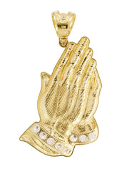 Big Praying Hands & Cz 10K Yellow Gold Pendant. | 16.2 Grams MEN'S PENDANTS FROST NYC