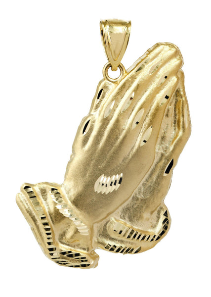 Medium Praying Hands  10K Yellow Gold Pendant.  |  7.2 Grams