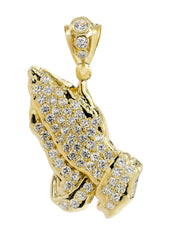 Big Praying Hands & Cz 10K Yellow Gold Pendant.  |  7.8 Grams