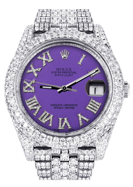 Diamond Iced Out Rolex Datejust 41 | 25 Carats Of Diamonds | Custom Purple Roman Numeral Diamond Dial | Two Row | Jubilee Band