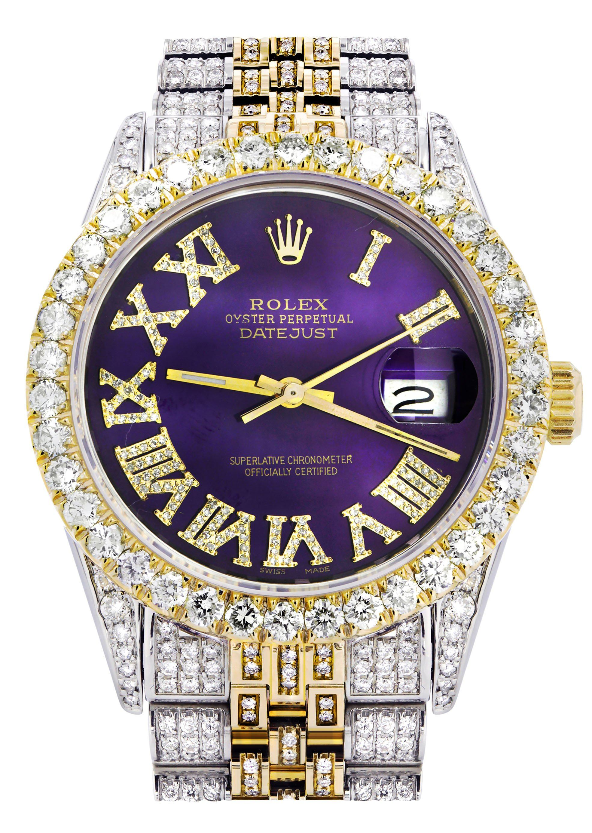 Iced Out Rolex Datejust 36 MM Two Tone 10 Carats Of