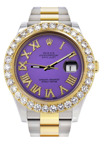 Rolex Datejust II Watch | 41 MM | Custom Purple Roman Dial | Oyster Band