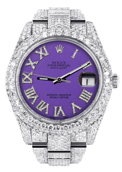 Diamond Iced Out Rolex Datejust 41 | 25 Carats Of Diamonds | Custom Purple Roman Numeral Diamond Dial | Two Row | Oyster Band