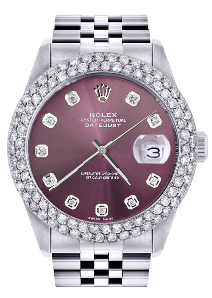 Mens Rolex Datejust Watch 16200 | 36Mm | Purple Dial | Two Row 4.25 Carat Bezel | Jubilee Band