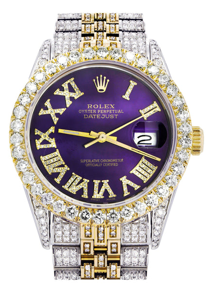 Iced Out Rolex Datejust 36 MM | Two Tone | 10 Carats of Diamonds | Purple Roman Diamond Dial