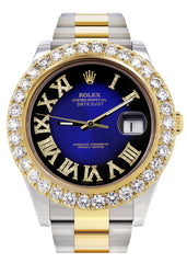 Rolex Datejust II Watch | 41 MM | 18K Yellow Gold & Stainless Steel | Custom Blue/Black Roman Dial | Oyster Band