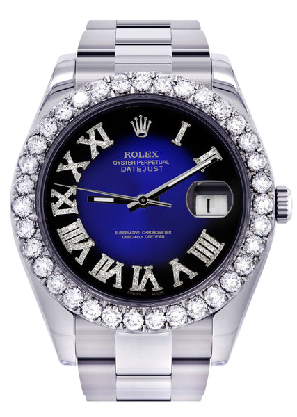 Rolex Datejust II Watch | 41 MM | Custom Blue/Black Roman Dial | Oyster Band