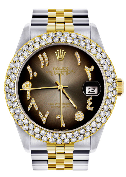 Diamond Gold Rolex Watch For Men 16233 | 36Mm | Brown Arabic Diamond Dial | Two Row 4.25 Carat Bezel | Jubilee Band